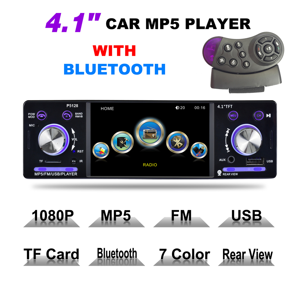Universal 4.1' 1 Din HD Car Stereo Radio Bluetooth MP3 MP5 Player Support USB / FM / TF / AUX with Steering Wheel Remote Control steering wheel control 7 inch touch screen car radio mp5 mp4 player 1 din bluetooth usb tf fm support rear camera 5 languages