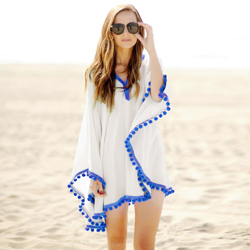 Pom Trim Beach Kaftan sexy Frauen Strandkleid Sommer Badeanzug Bohemian Dress Beach Sonnencreme Beachwear 41150