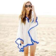 Pom Trim Beach Kaftan sexy women beach dress summer bathing suit Bohemian Dress Beach sunscreen Beachwear 41150