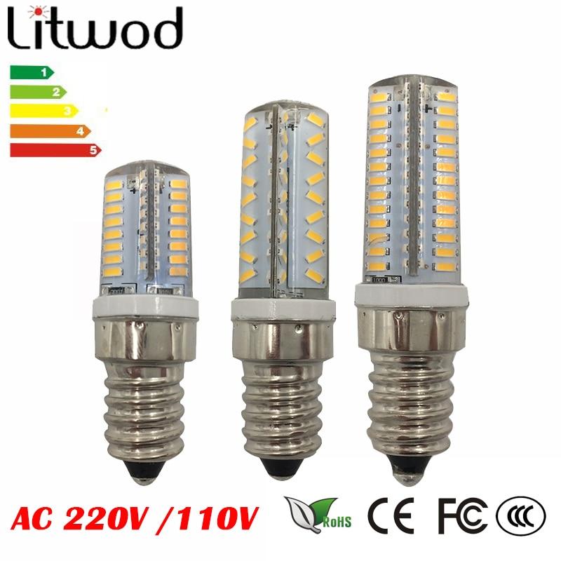 Litwod Z90 E14 AC220V AC110V 4W 5W 6W SMD 3014 64 72 104 leds LED Lamp Corn Bulb Lampada LED light 360 degrees Lamp