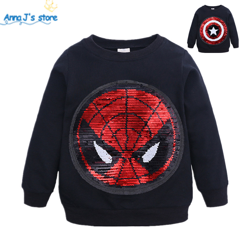 7a0b1f62f5 Cartoon Sequin Pattern Sweatshirts Children Long Sleeve Tops boys T shirt  Girls Pullover Blouse Kids Clothes Spring Autumn ZX378-in T-Shirts from ...