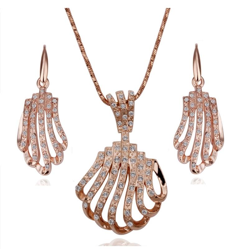 Free Shipping 18K GP Gold Plated Jewelry Set Fashion Nickel Free Tin Alloy Rhinestone Crystal Necklace Earring SMTPS075