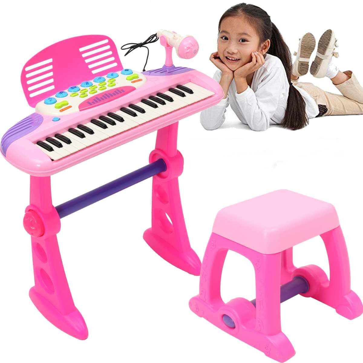 Rose 37 clés enfants clavier électronique Piano orgue jouet Microphone musique jouer enfants jouet éducatif cadeau pour enfants - 2