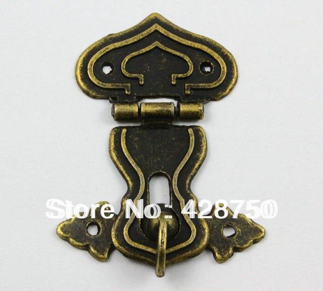 Antique Brass Jewelry Box Hasp Latch Lock 48x64mm with Screwsin