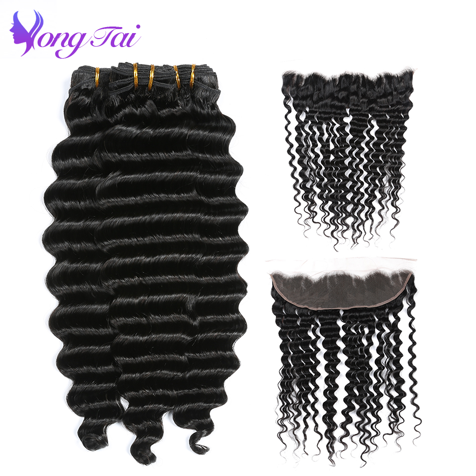 Yongtai Deep Wave Raw Indian Hair Non Remy Human Hair 3 Bundles With 13*4 Lace Frontal Natural Black 8-30inches Free Shipping