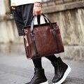 Crazy-Horse PU Leather File Portfolio Messenger Bag  Vintage Travel Briefcase Cross Shoulder mans bags for 14-15 Inch Laptop