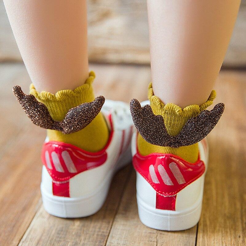 Baby Socks Angel Wings Design Socks For Girls Kids Socks Children's Foot Wear Ruffled Knitted Filamentary Silver Fashion Socks