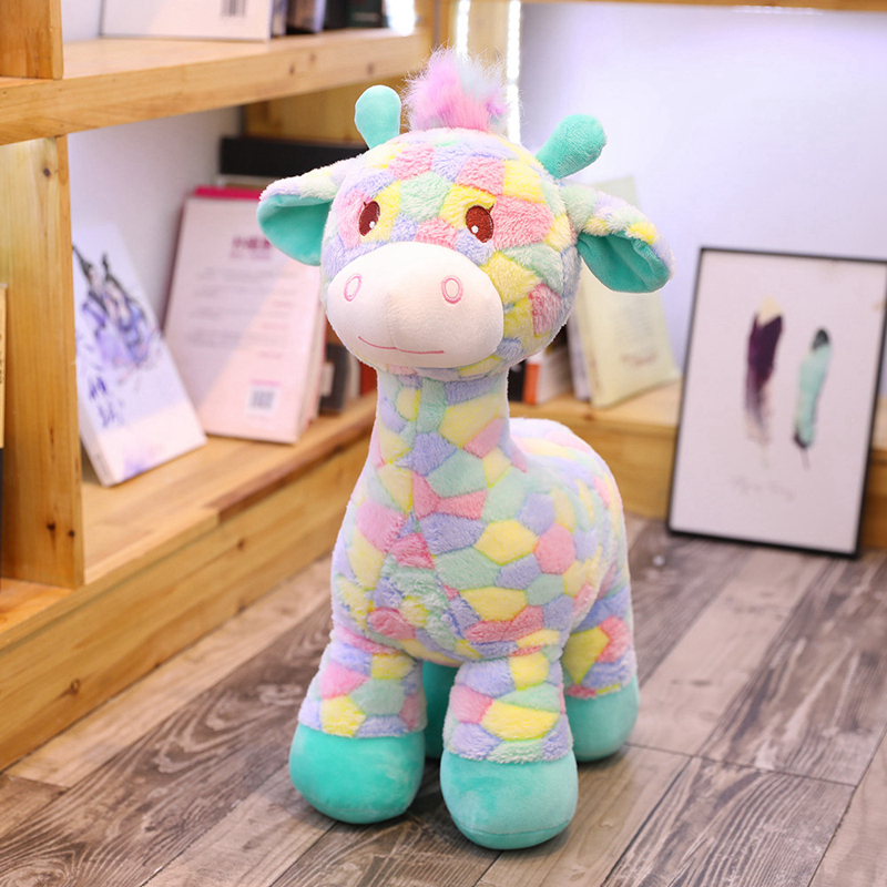30cm Lovely Baby Toys Rainbow Giraffe Plush Toys Dolls For Kids Brinquedos Kawaii Sika Deer Gift For Baby Christmas Gifts