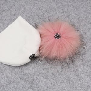 Image 4 - GZHILOVINGL помпон из натурального меха, детская шапка девочки мальчики теплая зимняя вязаная бархатная шапка для малышей Мягкие толстые фланелевые шапки помпоны