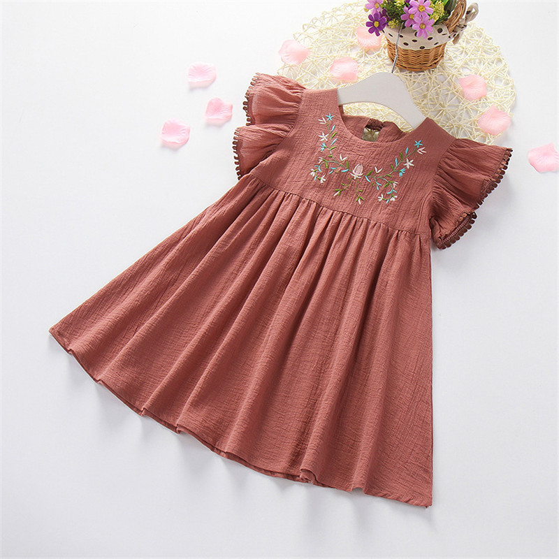 Hurave Casual crew neck ruched dress clothes Children Summer Clothing ruffles sleeve embroidery dress boutique Frill outfits купить в Москве 2019