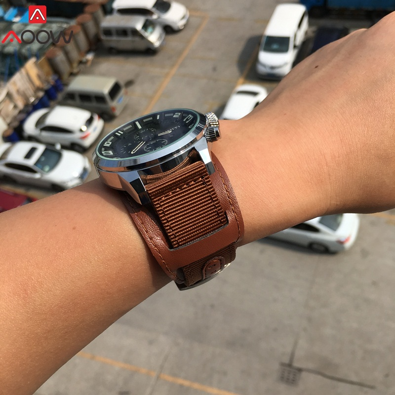 AOOW Nylon Watchband Genuine Leather Strap 18mm 20mm 22mm 24mm Stainless Steel Watch Accessories For Men Woman Watch Band