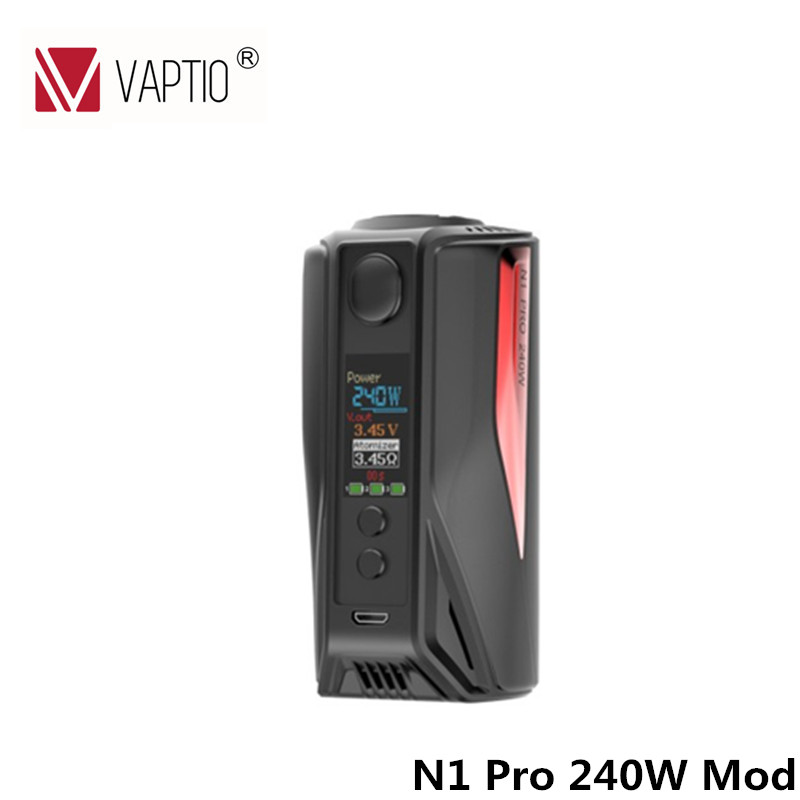 100% Original Electronic Cigarette Box Mod Vaptio N1 Pro 240W Box Mod Vape TC Mod fit with 18650 Without 18650 Battery original electronic cigarette smoant charon ts 218w box mod mechanical mod five heating modes for different needs 18650 vape mod
