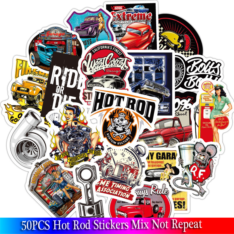 50Pcs New Cool Hot Rod Stickers Sets For Motorcycle Snowboard Luggage Car Fridge Car Watterbottle Sticker Pack