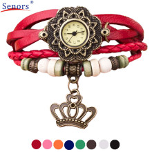 relogio masculino Quartz Weave Around Leather Crown Bracelet Lady Woman Wrist Watch   new design   Dec06 send in 2 days