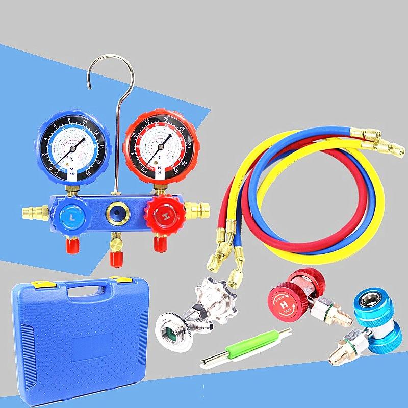 Voiture climatiseur R134A jauges de collecteur fréon réfrigérant + tricolore tubes fluorés + 2 pc QC-12 raccords rapides + ouvre