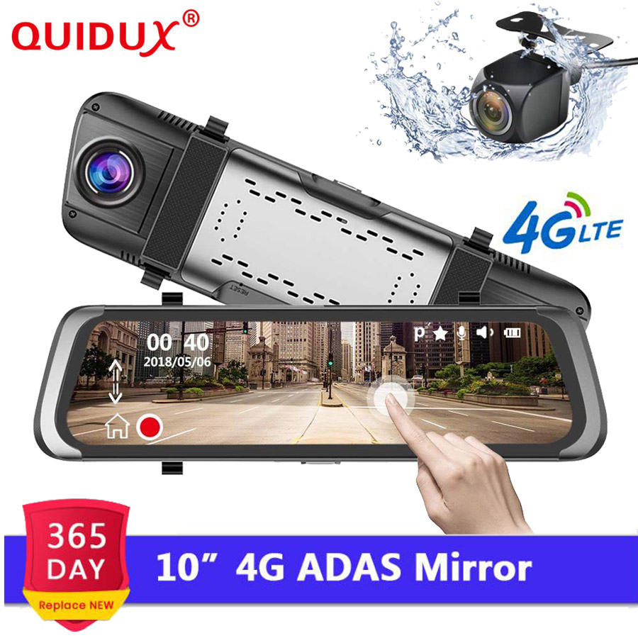 QUIDUX 10 pouces 4G Android miroir DVR Full HD 1080 P caméra de bord GPS Navigation ADAS autoregistraire rétroviseur WIFI moniteur