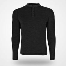 100% camisetas de manga larga de lana Merino para hombre, ropa de lana Merino LS Henley, transpirable, color negro, talla S XL