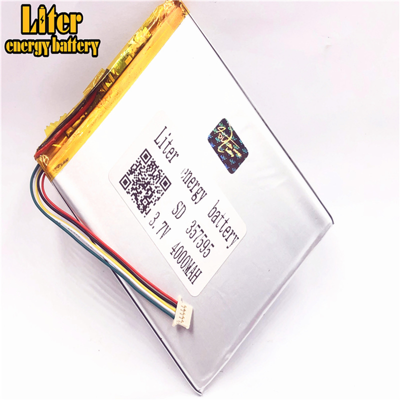 1.0MM 5pin connector 357595 4000mah 3.7V lithium polymer battery for tablet pc rechargeable battery