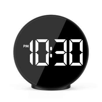 Budzik cyfrowy duży czas temperatura światła sterowanie głosem na biurko z wejściem USB tabeli zegarek zegary Home Decor Desgin prezent FJ3209T tanie i dobre opinie Z tworzywa sztucznego Luminova Skoki ruch Kontrola akustyczna sensing 40mm DIGITAL Krótkie circular Zegary biurkowe 105mm