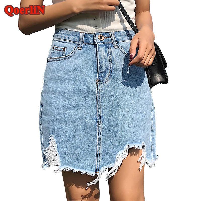 3553852f1dd Подробнее Обратная связь Вопросы о QoerliN Винтаж рваные пикантные Короткие  мини джинсовые юбки обувь для девочек 2018 Высокая талия отверстие  кисточкой ...