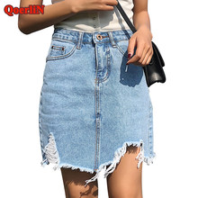 36d824fbd QoerliN Vintage rasgado Sexy Mini Jeans faldas chicas 2018 alta cintura  agujero borla moda verano mujeres Denim Falda más tamaño