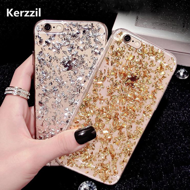 new styles 86505 1b9d8 US $1.81 5% OFF|Luxury Gold Foil Bling Glitter Clear Soft TPU Case For  iPhone 7 & 7 Plus SE 5 5S 6 6S Plus SE 5 5s Case Silicone Back Cover-in  Fitted ...