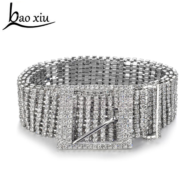 New metal chain   belts   Women's Diamante crystal Chain   Belt   Full Rhinestone bride wide Bling Female Crystal Waist   Belt   accessories