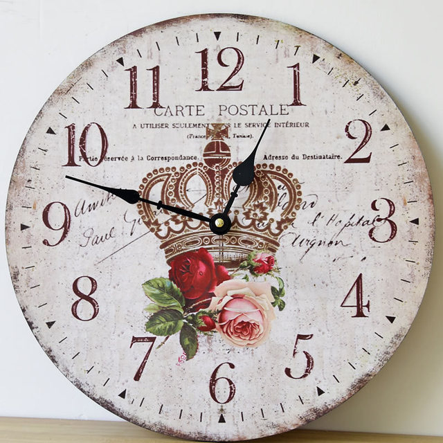 US $25.98 |CARTE POST Crown Holz Große Wanduhr elektronik wandbehang Clocks  Dekoration Wohnzimmer 35 CM in CARTE POST Crown Holz Große Wanduhr ...