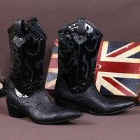 Зимние черные сапоги безопасная обувь из натуральной кожи кожаные ковбойские ботинки Стильная мужская обувь мотоциклетные ботинки с остры