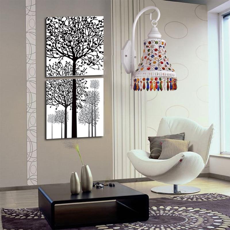 Spiegel Treppen moderne elegante kristall wandleuchte wandlen bunte spiegel