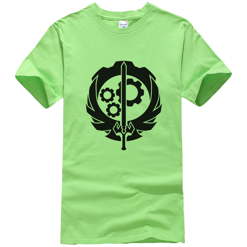 2018 Fallout Male   T  -  Shirt   Brotherhood Of Steel Fallout Tshirt Cotton Print   T     Shirt   Men Summer Short Sleeve Cool Tees T257