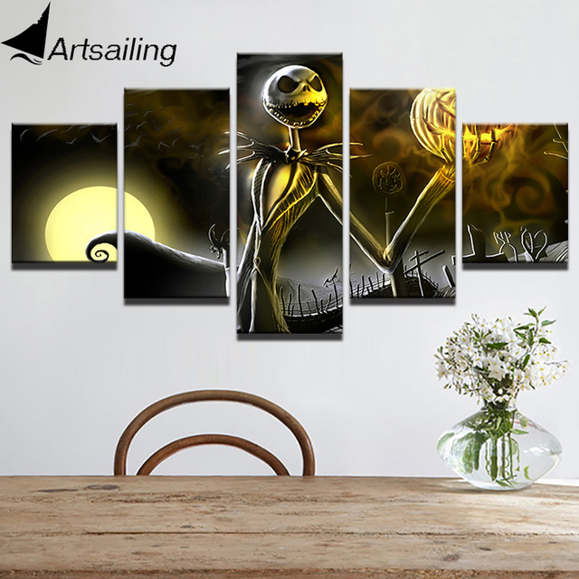 HD Print 5 Piece Canvas art nightmare before Christmas painting Halloween Poster wall art Free shipping & HD Print 5 Piece Canvas art nightmare before Christmas painting ...