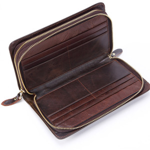 Image 5 - Business Genuine Leather Clutch Wallet Men Long Leather Phone Bag Purse Male  Large Size Handy Coin Wallet Card Holder Money Bag