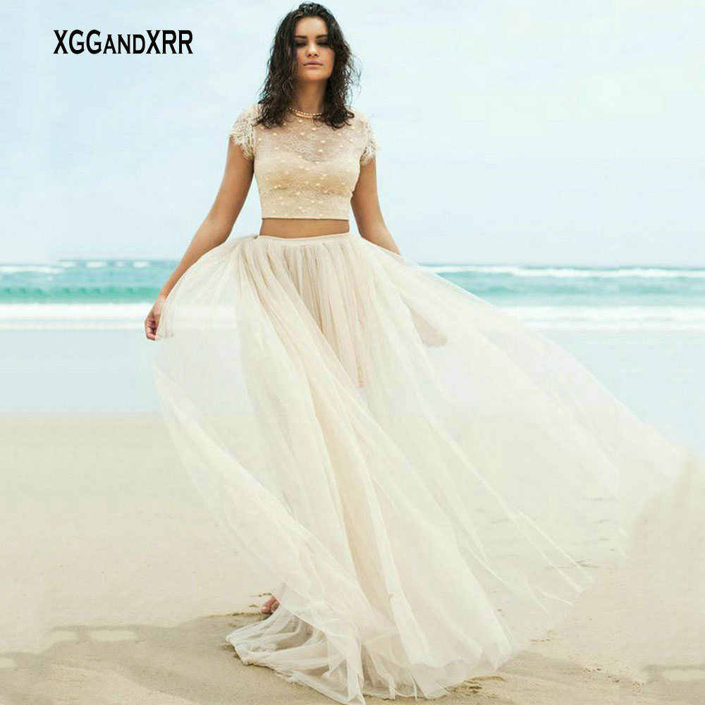 d53a4b7abcf1 Two Pieces Beach Wedding Dress Elegant 2 Piece Tulle Bridal Gown Lace with  Pearls Bridal Gown