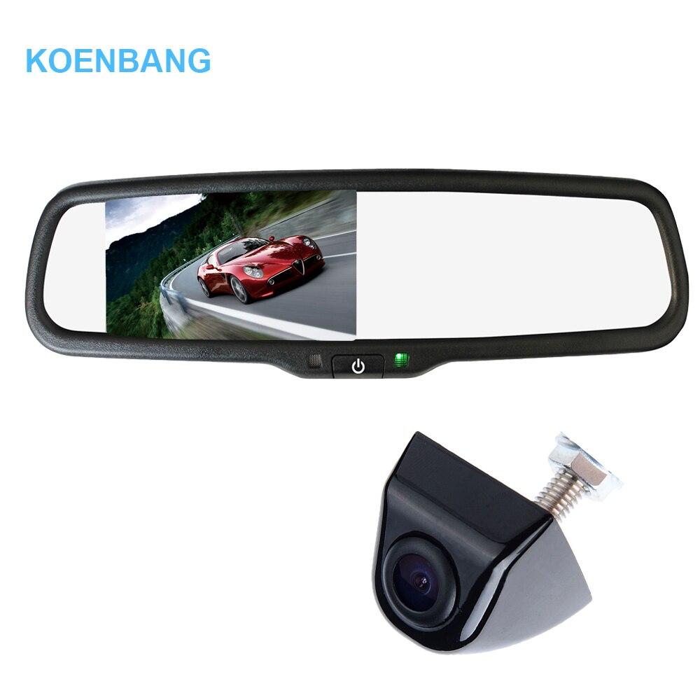 KOENBANG 4.3 TFT LCD Car Rear View Mirror Monitor 1000cd/m2 2-way Video Input for Rear View Camera Reverse Auto Camera