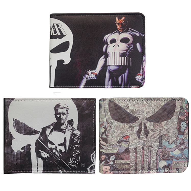 Marvel The Punisher Skull Character wallets Purse Gray dollar price card holder wallet men women leather pu purse american tv series mr robot 3d woman man wallets purse the the punisher skull purses cluth creadit card holder