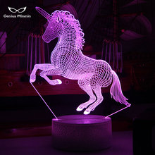 3D Unicorn LED Night Light Party Cartoon Chandelier 7 Color Change Baby Room Beside Lamp Gifts Crack Base Style