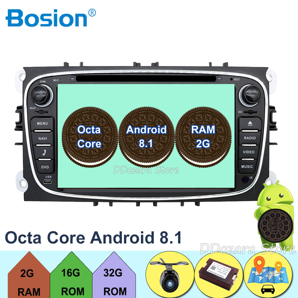 7'' Radio Android 8.1 Octa Core Car DVD Player GPS Maps DAB+OBD for Ford Focus II 2008 2009 2010 2011 Mondeo C Max S Max