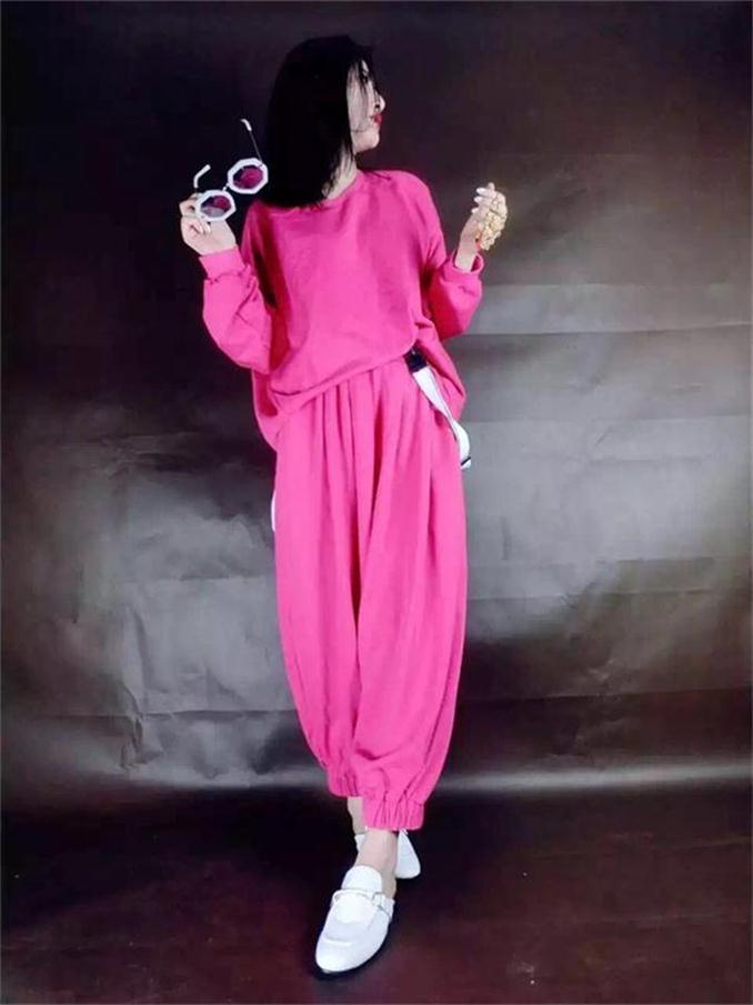 Europese station voorjaar nieuwe mode pak bat shirt jas large breed been broek vrouwen tweedelige trend dd23-in Sets voor dames van Dames Kleding op AliExpress - 11.11_Dubbel 11Vrijgezellendag 1