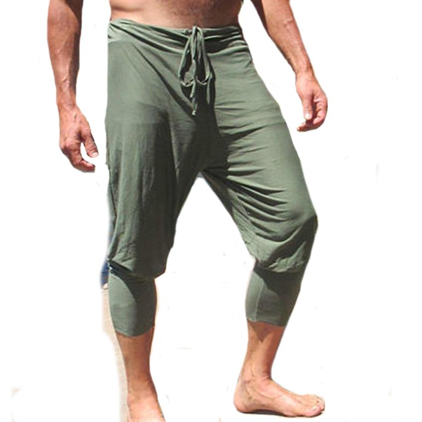 Men Summer Casual Capri Pants Solid Color Slim Stylish ...
