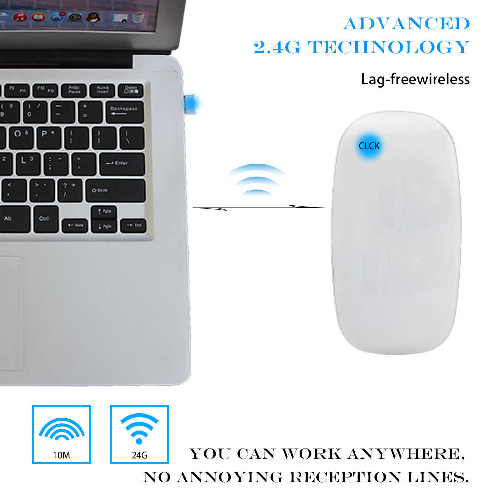 Kablosuz Bilgisayar Dokunmatik Kaydırma Fare Ergonomik Süper Ince Optik Fareler Apple Dizüstü Bilgisayar Microsoft Windows Macbook pro IOS