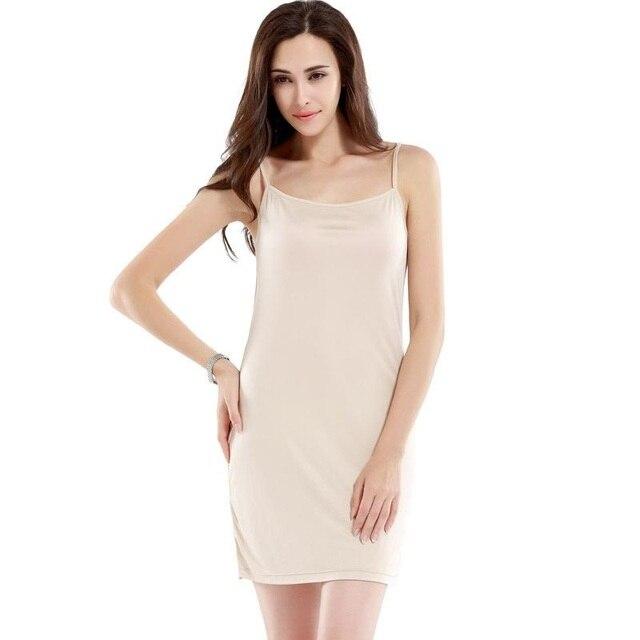 100% Las Mujeres de Seda Pura Completo Petticoat Slips Underskirt Mujeres Femenina Delgada Sexy Mujer Underdress Sleep Ladies Lingerier