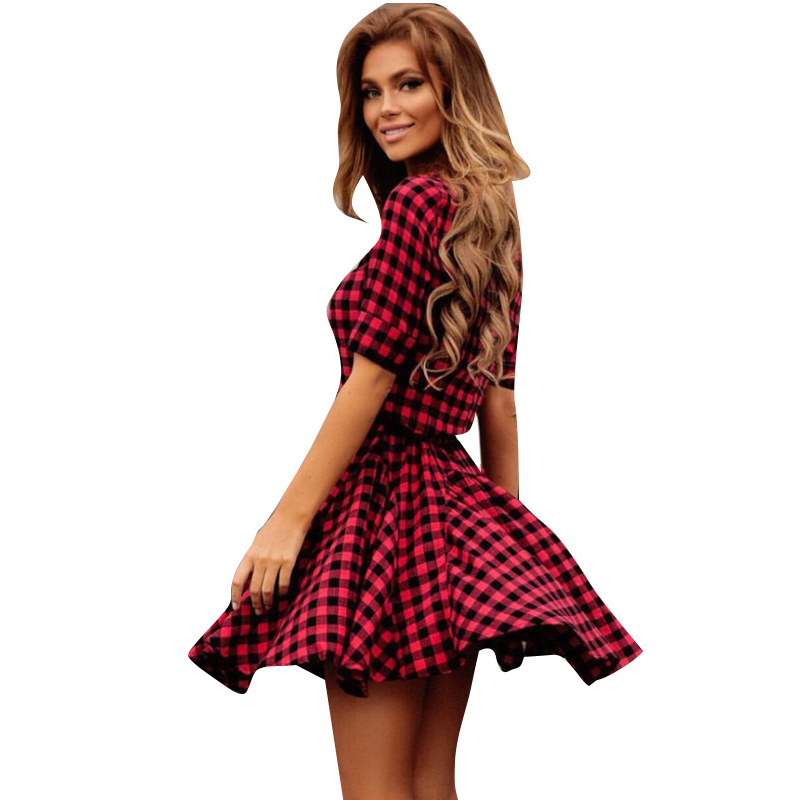 1edda760be79 SexeMara Summer Casual Red Black Plaid Dress 2017 Short Sleeve Flare Skater  Dresses Plus Size Women Clothing SR043-in Underwear from Mother & Kids on  ...