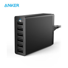 Cargador de pared USB Anker estación de carga USB de 60W 6 puertos cargador Multi USB 6 para iPhone iPad Galaxy LG HTC y más(China)