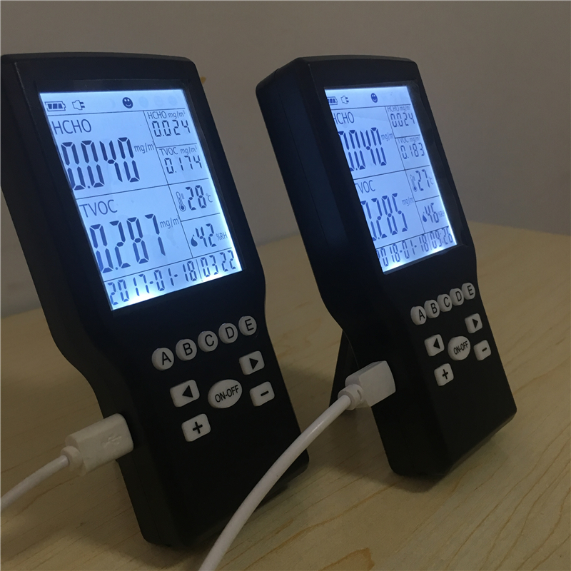 Mini digital data formaldehyde air quality meter digital indoor air quality carbon dioxide meter temperature rh humidity twa stel display 99 points made in taiwan co2 monitor