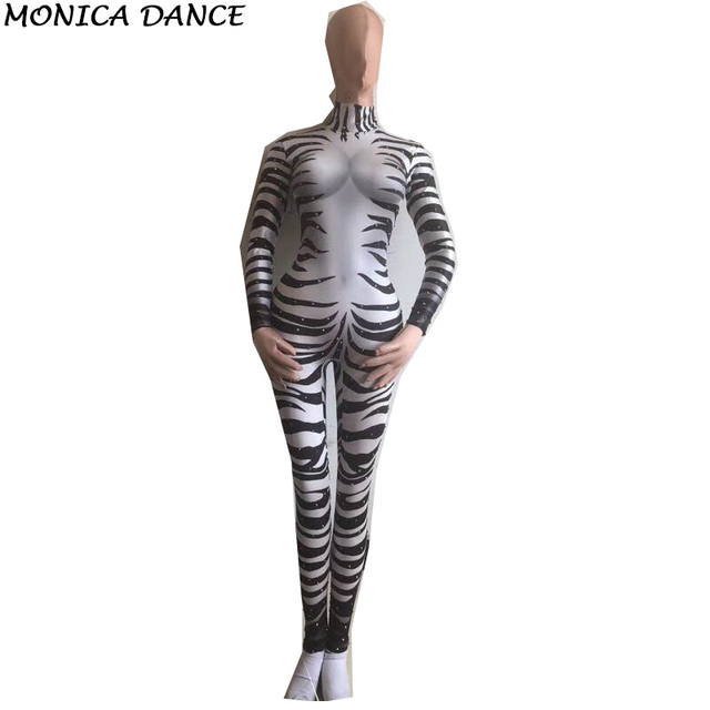 Zebra Printed Rhinestone Jumpsuit Female Sexy Stretch Leggings Cosplay Costume  One-piece Party Rompers Bodysuit Stretch Outfit 591c8026f532