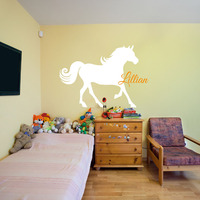 Horse Nursery Room Wall Stickers Custom Name Vinyl Wall Decals Children Room Wall Decor Wall Art Personalized Wallpaper 607C