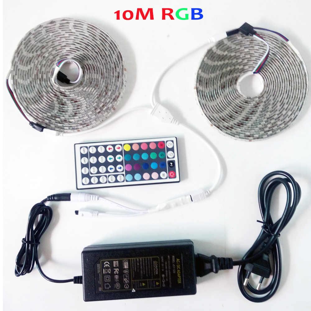 شريط إضاءة LED مرن مضاد للمياه BOLE DENGYE RGB بأبعاد 5050 5 متر 10 متر 2 متر 3 متر 44Key IR جهاز تحكم عن بعد RGB محول 12 فولت LED