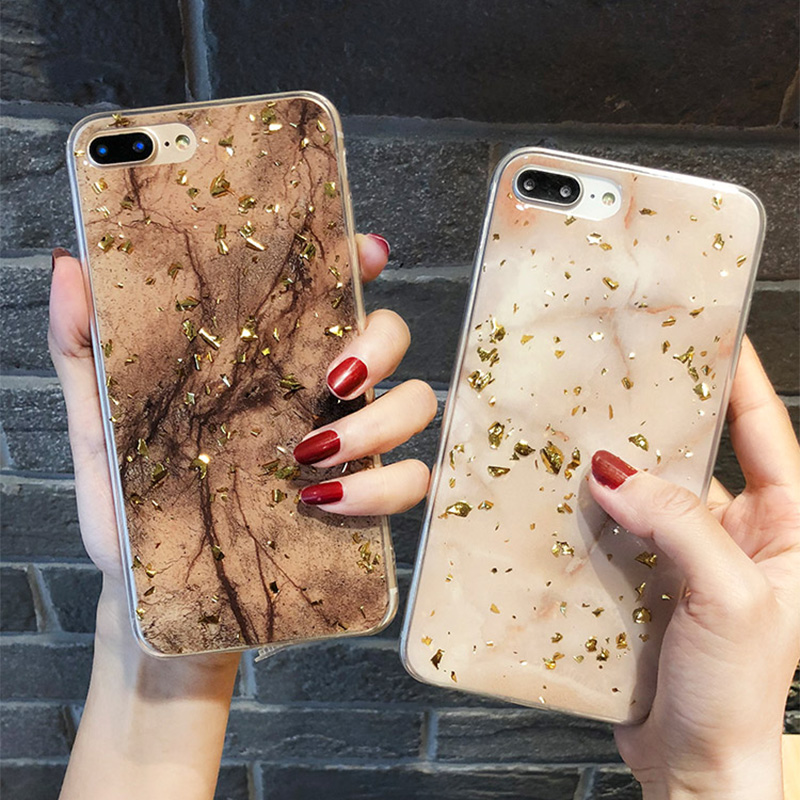 <font><b>Gold</b></font> Foil Bling Marble Cases For Huawei Nova <font><b>Lite</b></font> P20 10 Plus Case On <font><b>Honor</b></font> V20 V10 8X 7X <font><b>9</b></font> Mate 20 Pro 10 Glitter Soft TPU Back image