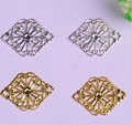 50pcs/lot copper material gold silver Hollow Filigree Flower Jewelry Findings Link Connectors Pendant for bracelet DIY jewelry